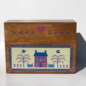 Vintage Wood Greeting organizer Card Box w/ Cards